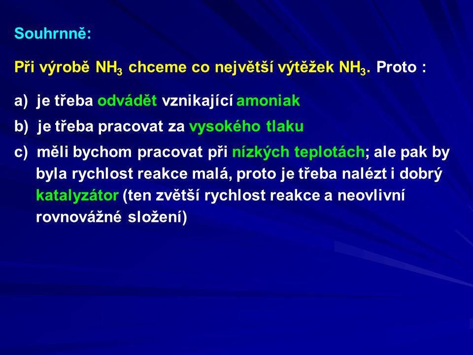 Při výrobě NH 3 chceme co největší výtěžek NH 3. Proto : Souhrnně: a) je třeba odvádět vznikající amoniak b) je třeba pracovat za vysokého tlaku c) mě