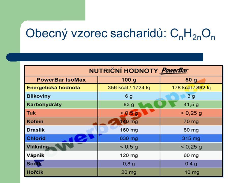 Obecný vzorec sacharidů: C n H 2n O n Méně často se sacharidy nazývají glycidy, nesprávně pak uhlohydráty nebo uhlovodany – vycházejíc z mylné představy, že sacharidy jsou hydráty uhlíku, protože jejich obecný vzorec lze napsat též jako C n (H 2 O) n.