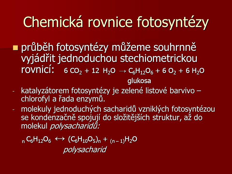 Chemická rovnice fotosyntézy průběh fotosyntézy můžeme souhrnně vyjádřit jednoduchou stechiometrickou rovnicí: 6 CO 2 + 12 H 2 O → C 6 H 12 O 6 + 6 O 2 + 6 H 2 O průběh fotosyntézy můžeme souhrnně vyjádřit jednoduchou stechiometrickou rovnicí: 6 CO 2 + 12 H 2 O → C 6 H 12 O 6 + 6 O 2 + 6 H 2 O glukosa glukosa - katalyzátorem fotosyntézy je zelené listové barvivo – chlorofyl a řada enzymů.