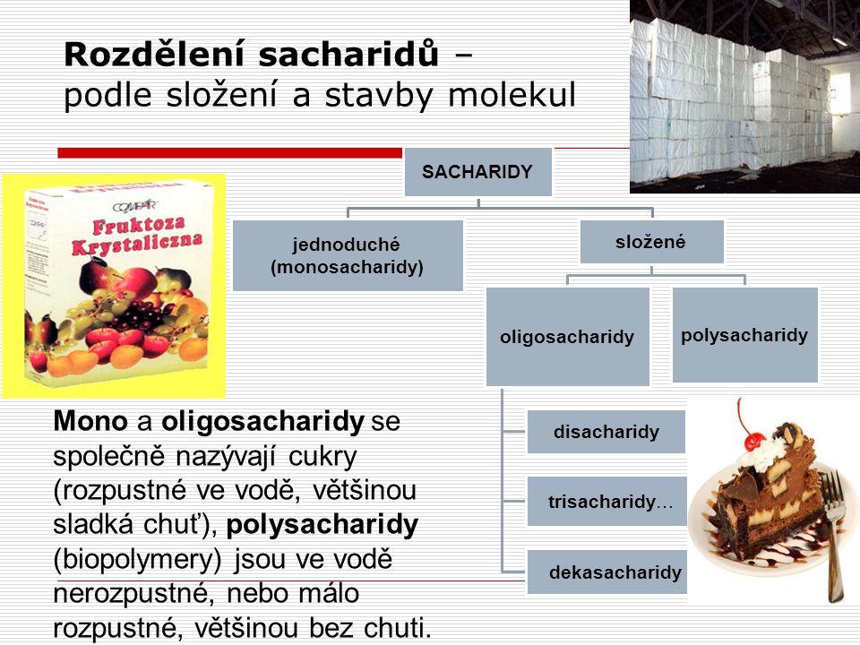 Rozdělení sacharidů – podle složení a stavby molekul SACHARIDY jednoduché (monosacharidy) složené oligosacharidy disacharidy trisacharidy… dekasacharidy polysacharidy Mono a oligosacharidy se společně nazývají cukry (rozpustné ve vodě, většinou sladká chuť), polysacharidy (biopolymery) jsou ve vodě nerozpustné, nebo málo rozpustné, většinou bez chuti.