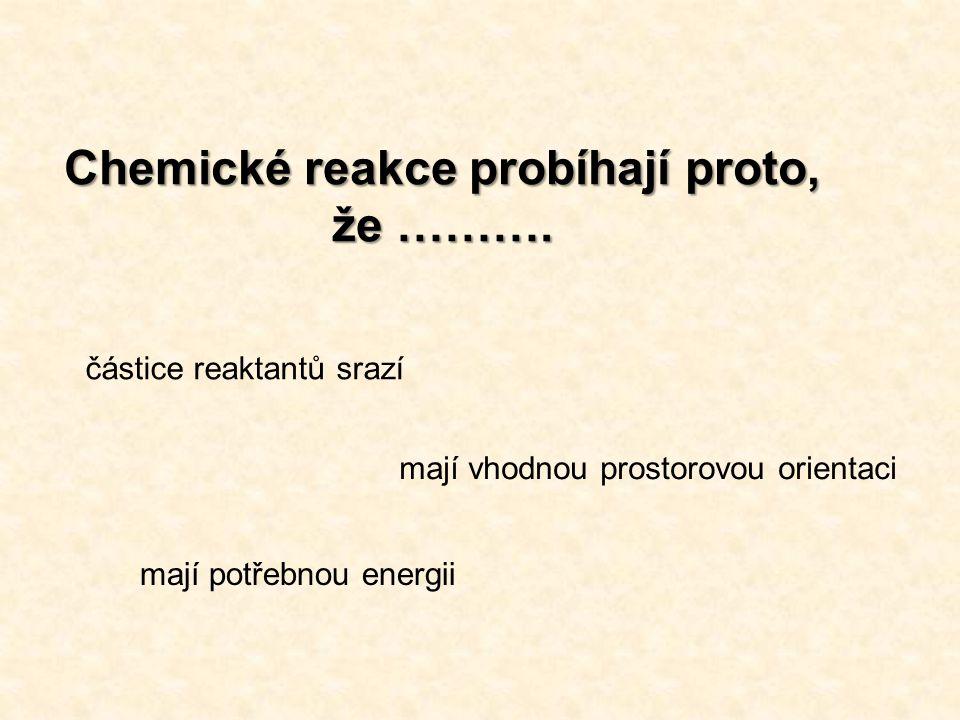 Chemické reakce probíhají proto, že ………. částice reaktantů srazí mají vhodnou prostorovou orientaci mají potřebnou energii