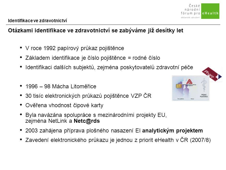 Identifikace ve zdravotnictví Otázkami identifikace ve zdravotnictví se zabýváme již desítky let V roce 1992 papírový průkaz pojištěnce Základem identifikace je číslo pojištěnce = rodné číslo Identifikaci dalších subjektů, zejména poskytovatelů zdravotní péče 1996 – 98 Mácha Litoměřice 30 tisíc elektronických průkazů pojištěnce VZP ČR Ověřena vhodnost čipové karty Byla navázána spolupráce s mezinárodními projekty EU, zejména NetLink a Netc@rds 2003 zahájena příprava plošného nasazení EI analytickým projektem Zavedení elektronického průkazu je jednou z priorit eHealth v ČR (2007/8)