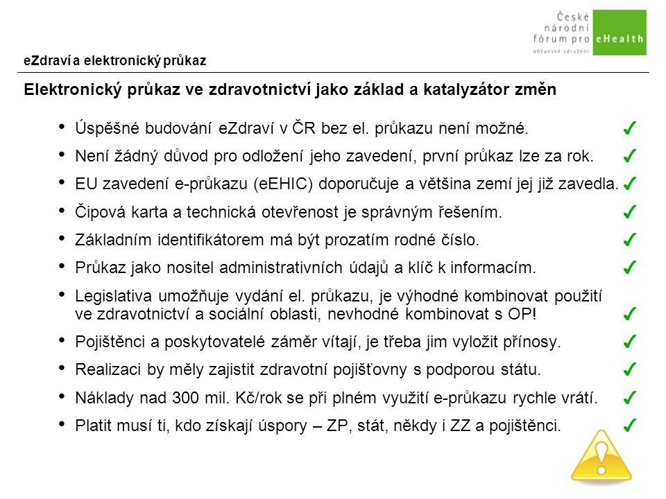 eZdraví a elektronický průkaz Elektronický průkaz ve zdravotnictví jako základ a katalyzátor změn Úspěšné budování eZdraví v ČR bez el.