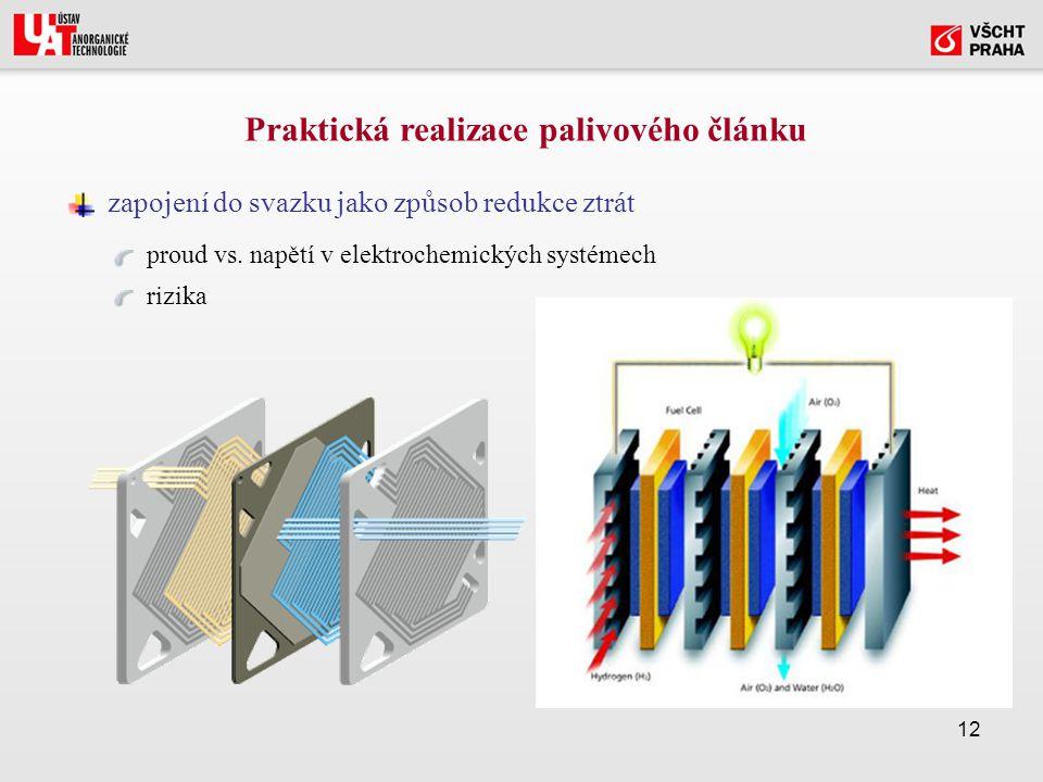 12 Praktická realizace palivového článku zapojení do svazku jako způsob redukce ztrát proud vs.