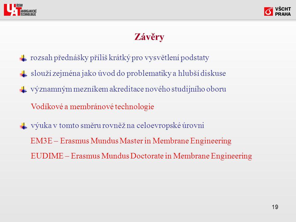 19 rozsah přednášky příliš krátký pro vysvětlení podstaty Závěry slouží zejména jako úvod do problematiky a hlubší diskuse významným mezníkem akreditace nového studijního oboru výuka v tomto směru rovněž na celoevropské úrovni Vodíkové a membránové technologie EM3E – Erasmus Mundus Master in Membrane Engineering EUDIME – Erasmus Mundus Doctorate in Membrane Engineering