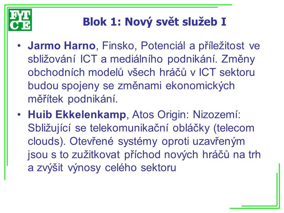 Blok 1: Nový svět služeb II Bernd Wunderlich, IBM: Německo, Aplikační Ekosystémy a jejich vztah k poskytovatelům telekomunikačních služeb.