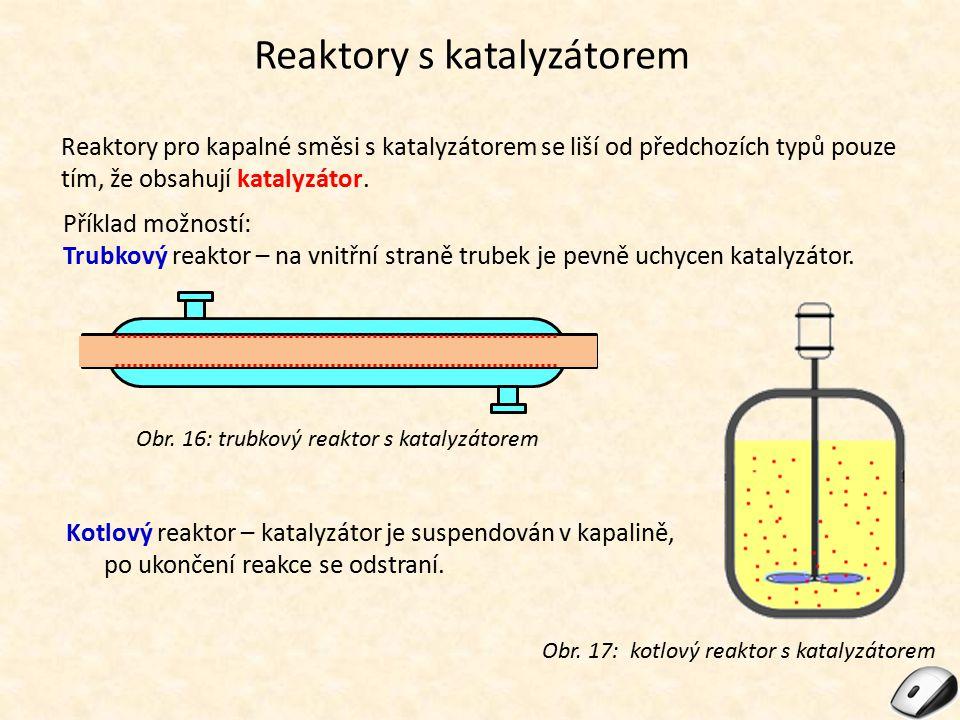 Reaktory s katalyzátorem Reaktory pro kapalné směsi s katalyzátorem se liší od předchozích typů pouze tím, že obsahují katalyzátor. Příklad možností: