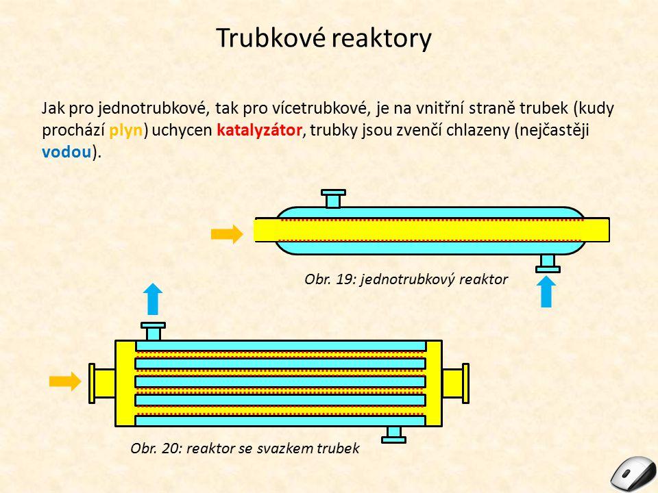 Trubkové reaktory Jak pro jednotrubkové, tak pro vícetrubkové, je na vnitřní straně trubek (kudy prochází plyn) uchycen katalyzátor, trubky jsou zvenč