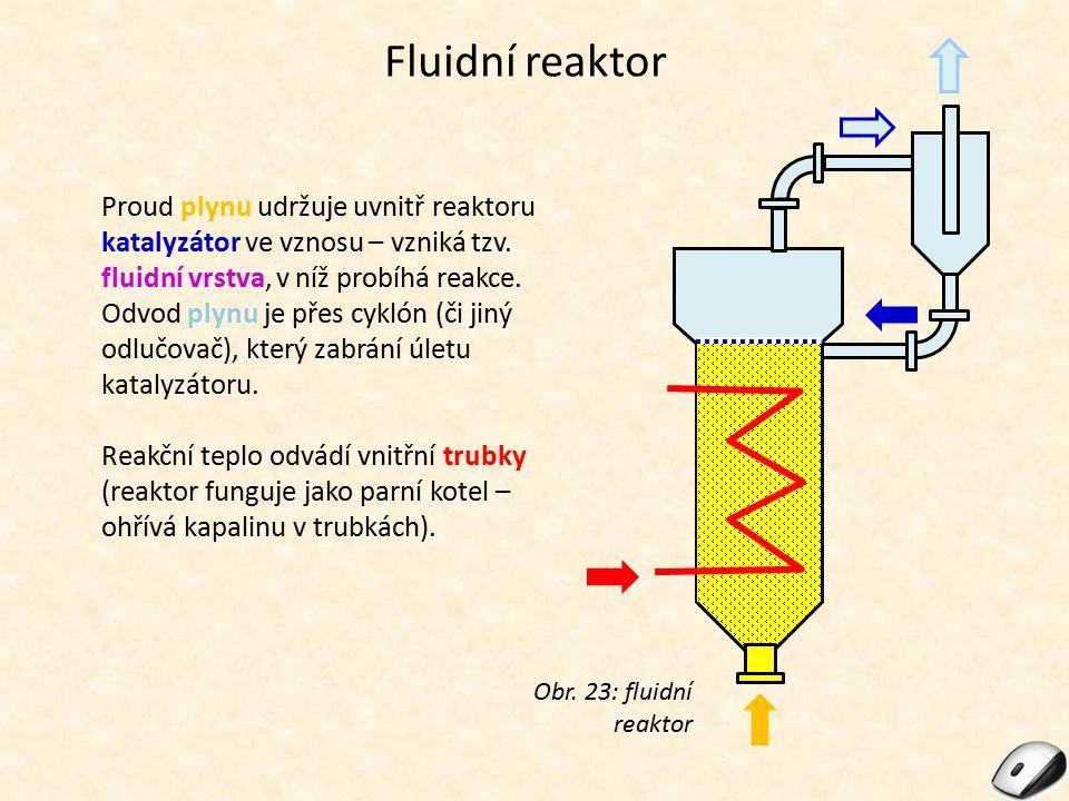 Fluidní reaktor Proud plynu udržuje uvnitř reaktoru katalyzátor ve vznosu – vzniká tzv. fluidní vrstva, v níž probíhá reakce. Odvod plynu je přes cykl