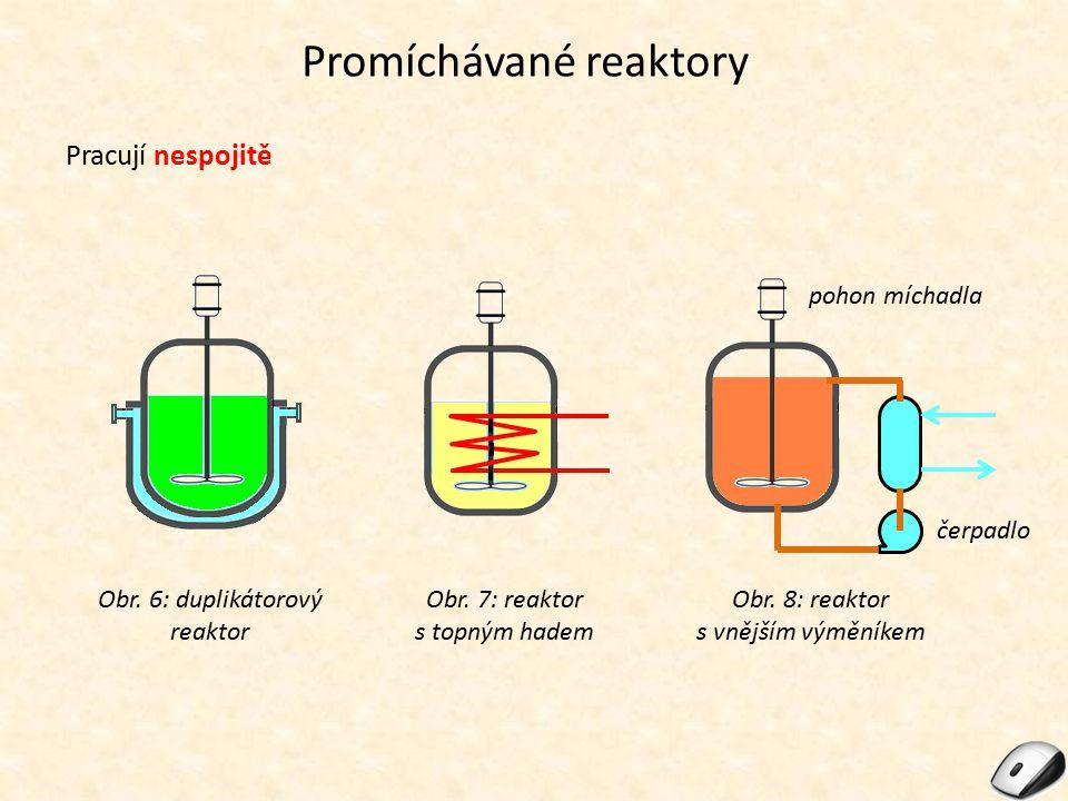 Promíchávané reaktory Pracují spojitě – kaskáda (sada za sebou napojených) temperovaných reaktorů s míchadly.