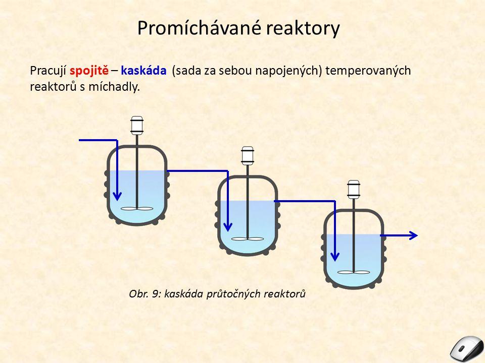 Promíchávané reaktory Pracují spojitě – kaskáda (sada za sebou napojených) temperovaných reaktorů s míchadly. Obr. 9: kaskáda průtočných reaktorů