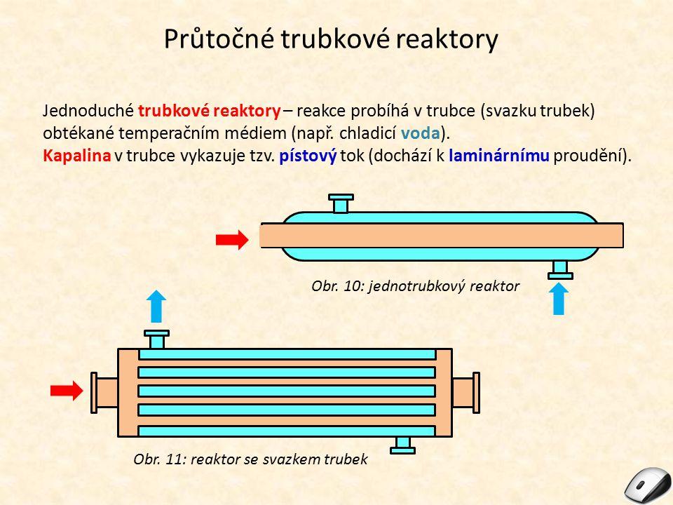 Průtočné trubkové reaktory Jednoduché trubkové reaktory – reakce probíhá v trubce (svazku trubek) obtékané temperačním médiem (např. chladicí voda). K