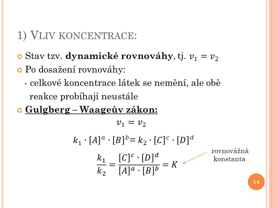 1) V LIV KONCENTRACE : 14 rovnovážná konstanta