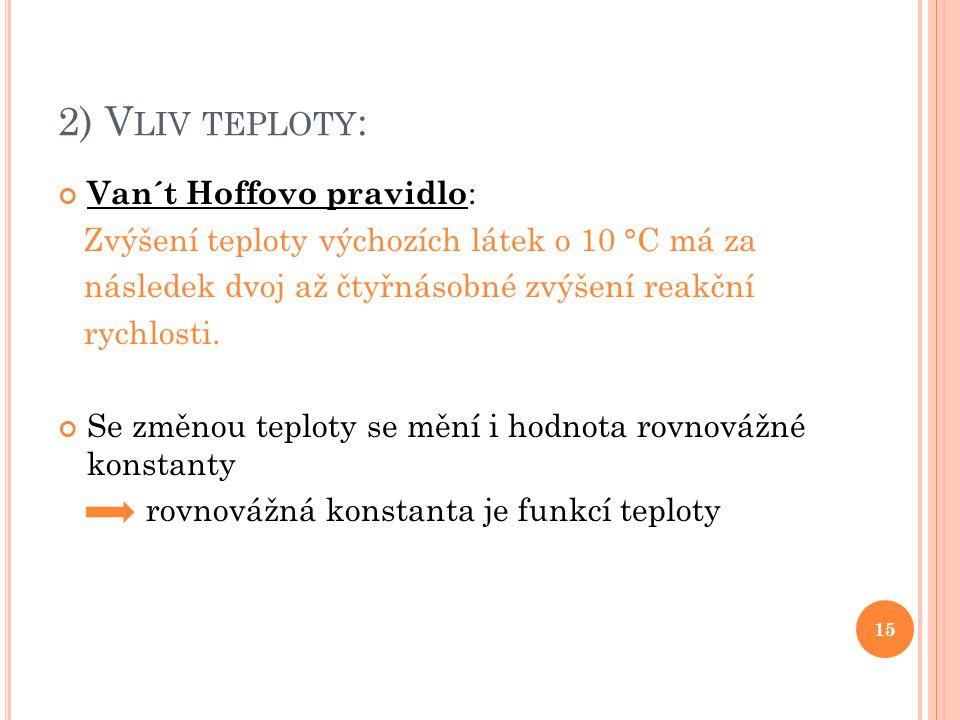 2) V LIV TEPLOTY : Van´t Hoffovo pravidlo : Zvýšení teploty výchozích látek o 10 °C má za následek dvoj až čtyřnásobné zvýšení reakční rychlosti. Se z
