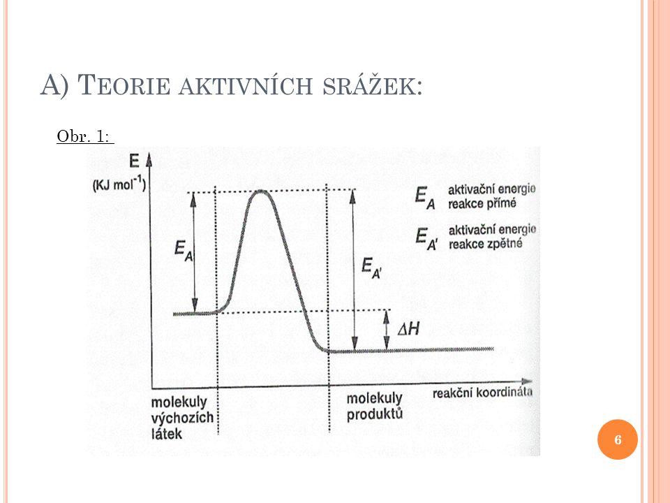 3) V LIV KATALYZÁTORŮ : Průběh reakce : - nekatalyzovaná: A + B → AB - katalyzovaná: A + B + K → AK + B → AB + K 17 Obr.