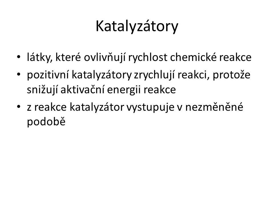 Katalyzátory látky, které ovlivňují rychlost chemické reakce pozitivní katalyzátory zrychlují reakci, protože snižují aktivační energii reakce z reakc