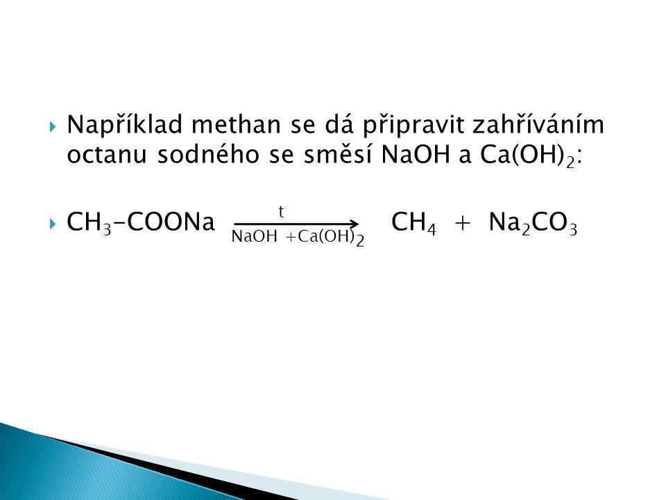  Například methan se dá připravit zahříváním octanu sodného se směsí NaOH a Ca(OH) 2 :  CH 3 -COONa NaOH t +Ca(OH) 2 CH 4 + Na 2 CO 3