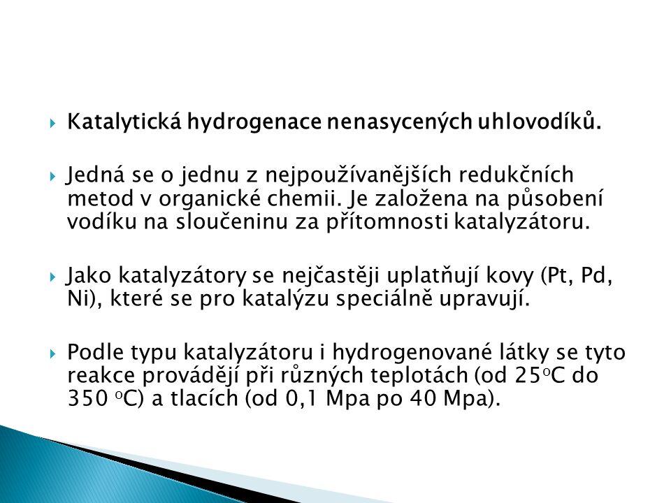  Katalytická hydrogenace nenasycených uhlovodíků.
