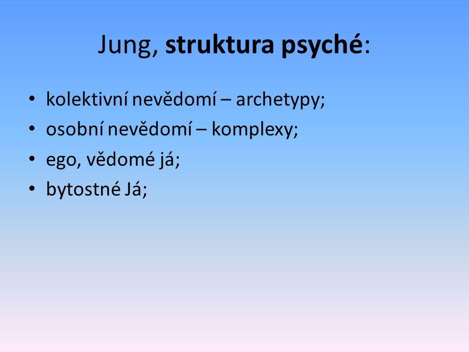 Jung, struktura psyché: kolektivní nevědomí – archetypy; osobní nevědomí – komplexy; ego, vědomé já; bytostné Já;