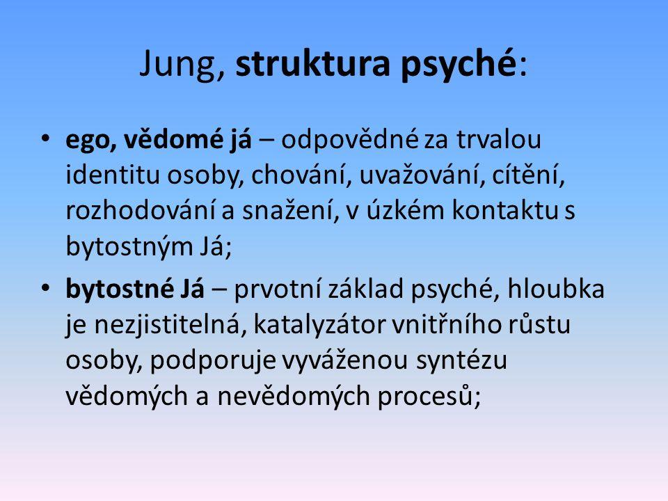 Jung, struktura psyché: ego, vědomé já – odpovědné za trvalou identitu osoby, chování, uvažování, cítění, rozhodování a snažení, v úzkém kontaktu s by