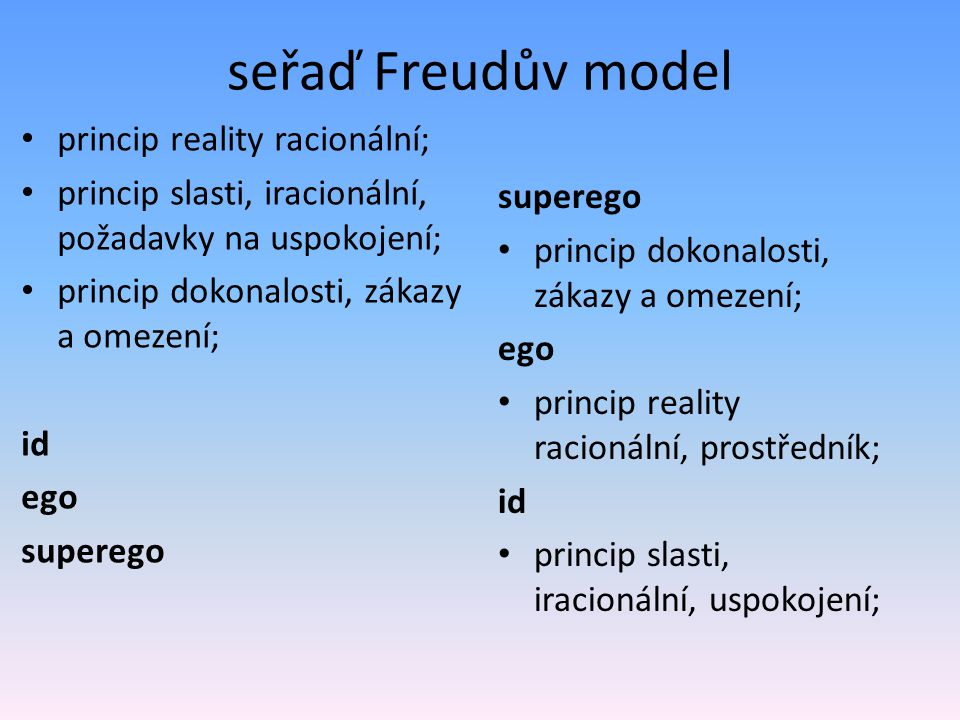 seřaď Freudův model princip reality racionální; princip slasti, iracionální, požadavky na uspokojení; princip dokonalosti, zákazy a omezení; id ego su