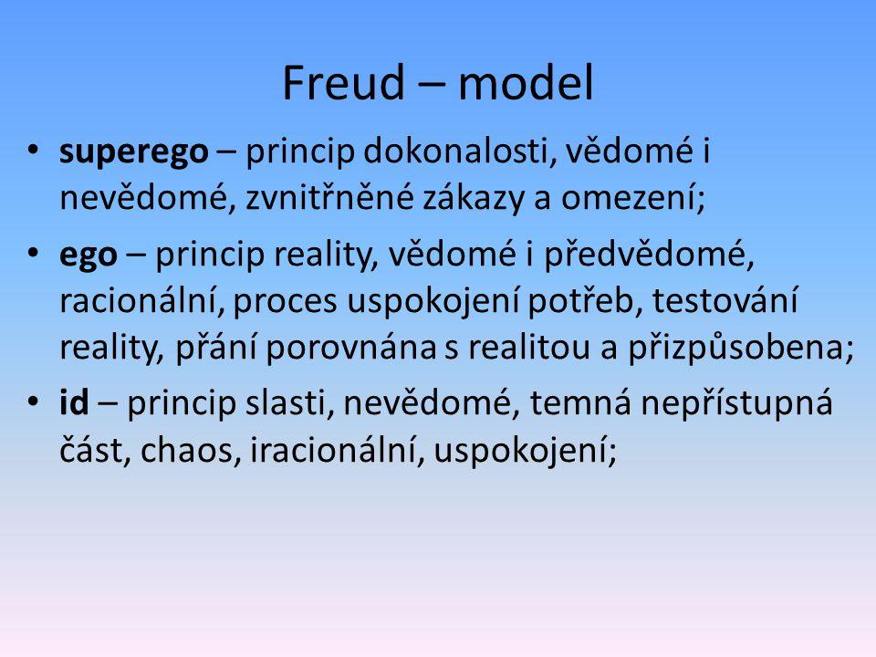 Freud – model superego – princip dokonalosti, vědomé i nevědomé, zvnitřněné zákazy a omezení; ego – princip reality, vědomé i předvědomé, racionální,