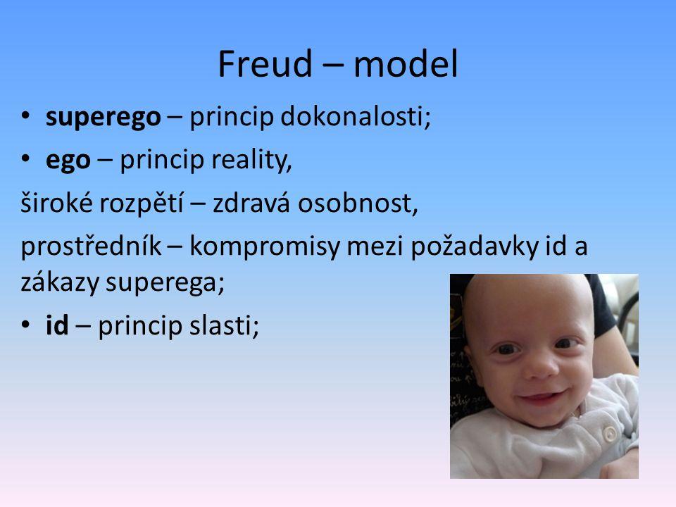 Freud – model superego – princip dokonalosti; ego – princip reality, široké rozpětí – zdravá osobnost, prostředník – kompromisy mezi požadavky id a zá
