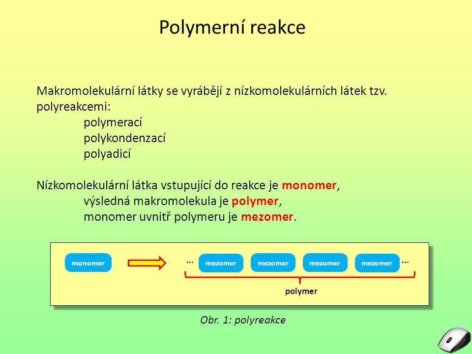 Polymerní reakce Makromolekulární látky se vyrábějí z nízkomolekulárních látek tzv.