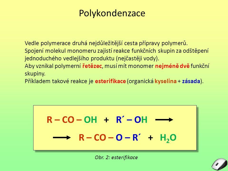 Druhy polykondenzace Funkční skupiny potřebné k reakci mohou být přítomny obě (A i B) v jedné molekule, nebo každá v jiné Homopolykondenzace – obě skupiny jsou v jednom monomeru Heteropolykondenzace – každá skupina je v jiné molekule Obr.