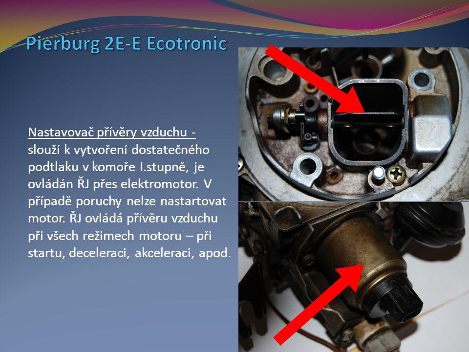 Nastavovač přívěry vzduchu - slouží k vytvoření dostatečného podtlaku v komoře I.stupně, je ovládán ŘJ přes elektromotor. V případě poruchy nelze nast