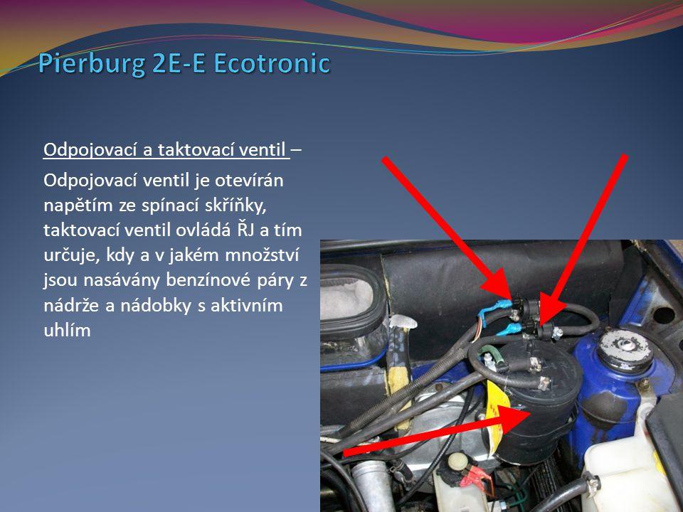 Odpojovací a taktovací ventil – Odpojovací ventil je otevírán napětím ze spínací skříňky, taktovací ventil ovládá ŘJ a tím určuje, kdy a v jakém množs