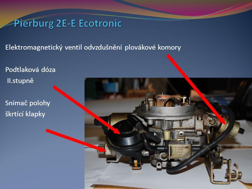 Elektromagnetický ventil odvzdušnění plovákové komory Podtlaková dóza II.stupně Snímač polohy škrtící klapky
