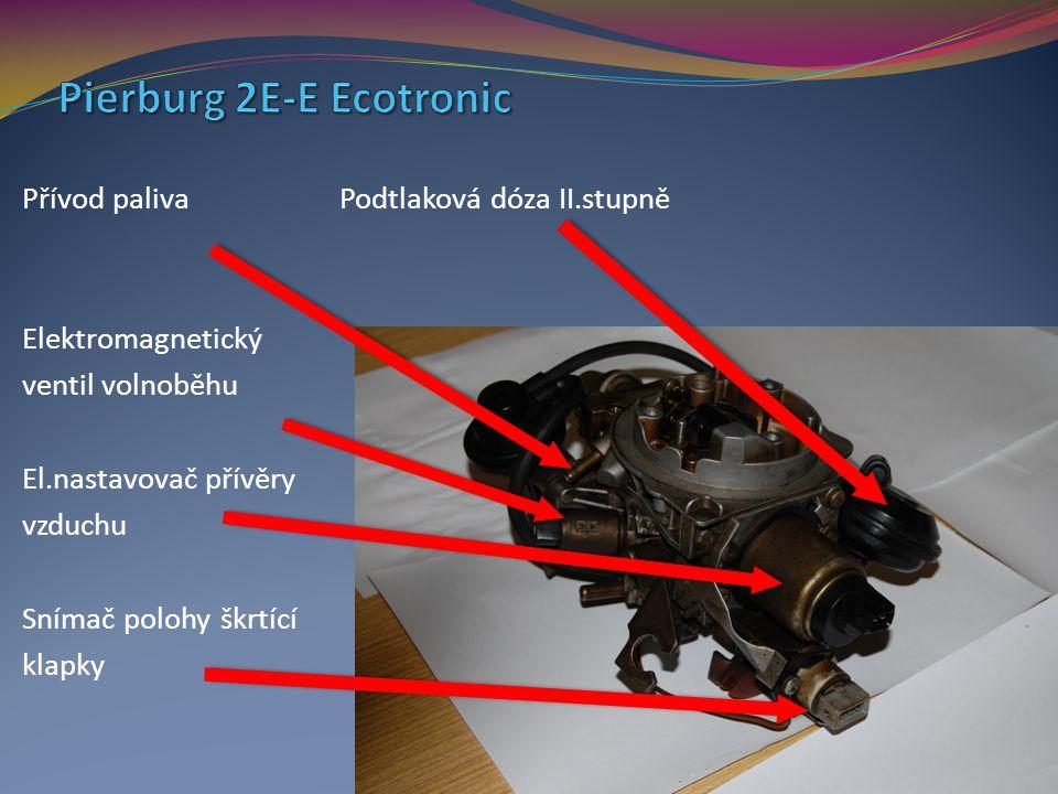 Přívod paliva Podtlaková dóza II.stupně Elektromagnetický ventil volnoběhu El.nastavovač přívěry vzduchu Snímač polohy škrtící klapky
