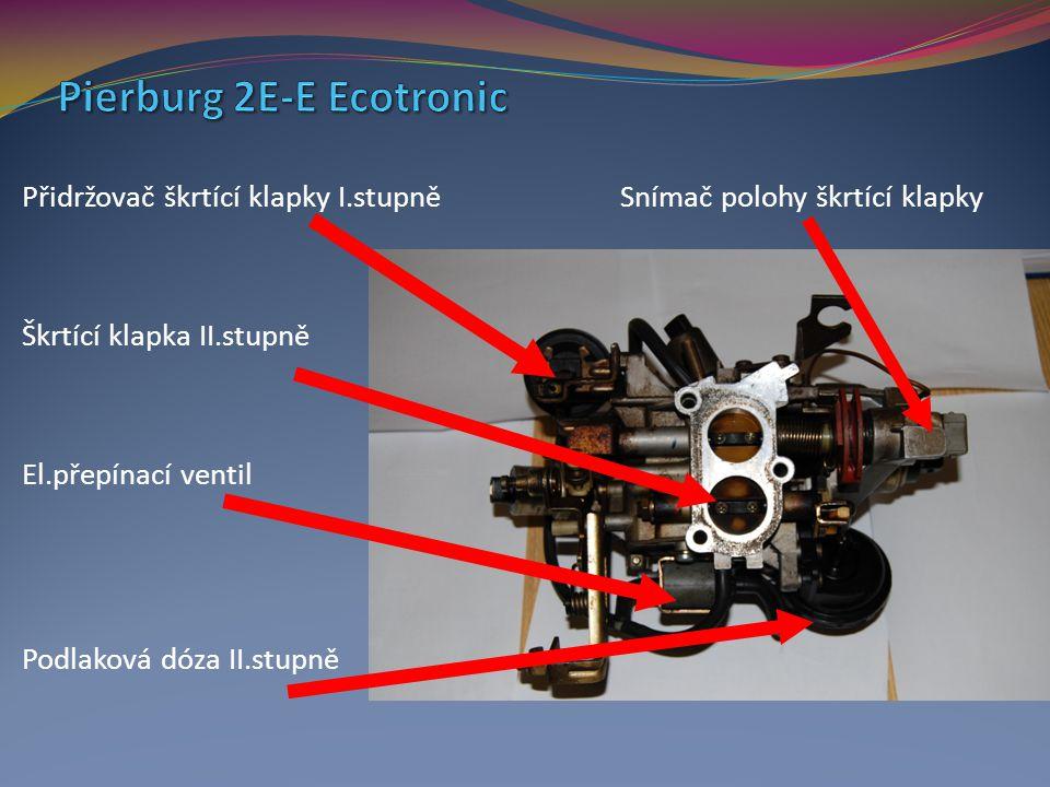 Přidržovač škrtící klapky I.stupně Snímač polohy škrtící klapky Škrtící klapka II.stupně El.přepínací ventil Podlaková dóza II.stupně