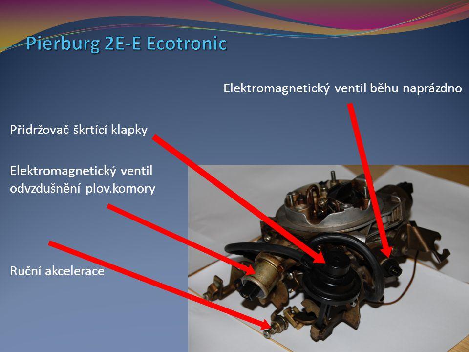 Elektromagnetický ventil běhu naprázdno Přidržovač škrtící klapky Elektromagnetický ventil odvzdušnění plov.komory Ruční akcelerace