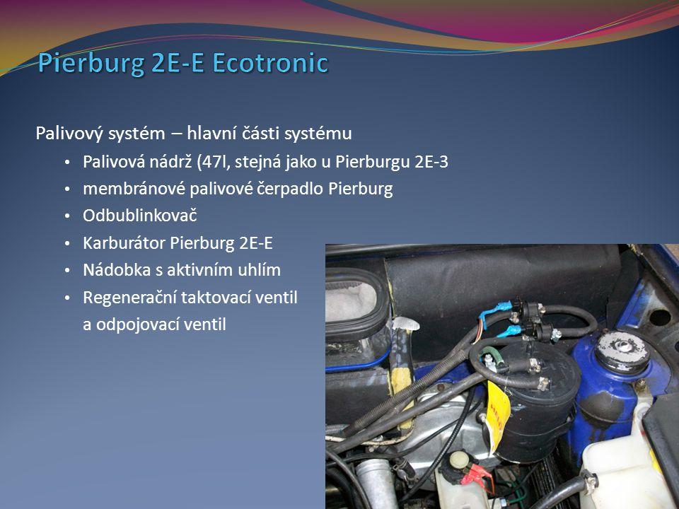 Palivový systém – hlavní části systému Palivová nádrž (47l, stejná jako u Pierburgu 2E-3 membránové palivové čerpadlo Pierburg Odbublinkovač Karburáto