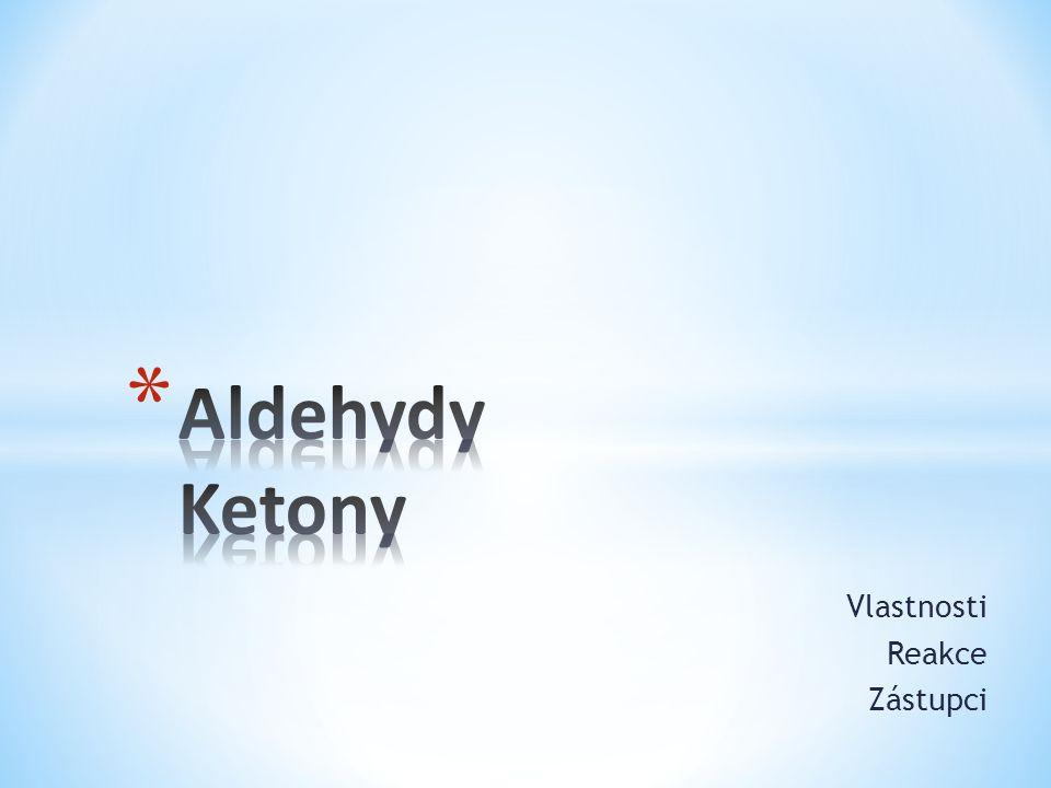* Aldehydy a ketony obsahují karbonylovou skupinu C = O Aldehydy R 1 –CHO Ketony R 1 -CO-R 2 * Jsou tedy označovány jako karbonylové sloučeniny.
