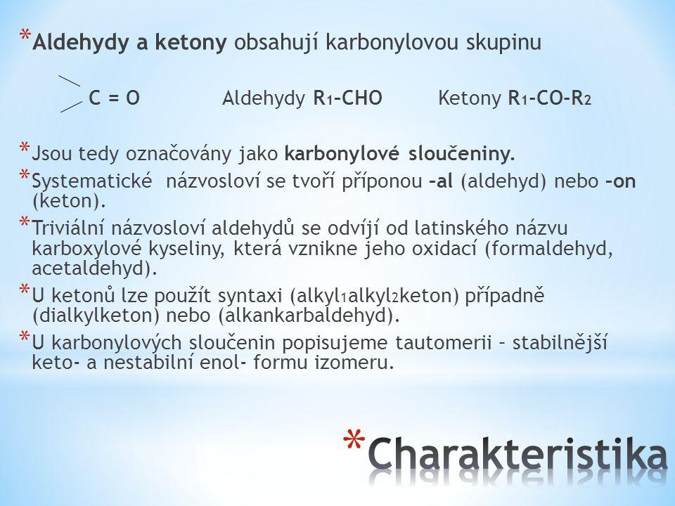 * Aldehydy a ketony obsahují karbonylovou skupinu C = O Aldehydy R 1 –CHO Ketony R 1 -CO-R 2 * Jsou tedy označovány jako karbonylové sloučeniny. * Sys