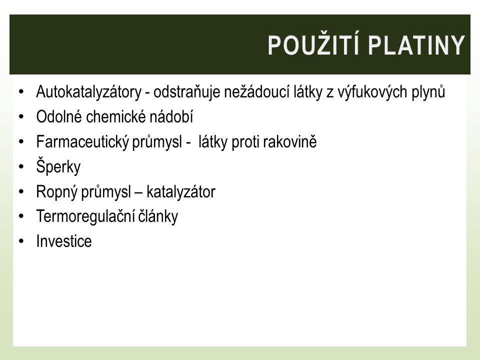 Přibližná cena – březen 2014 Zlato 860Kč/g Platina 936 Kč/g Stříbro 13,70 Kč/g http://www.kitco.cz/