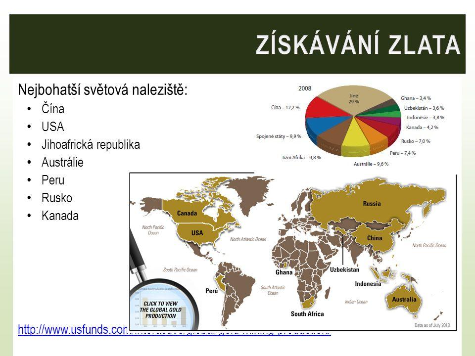 Nejbohatší světová naleziště: Čína USA Jihoafrická republika Austrálie Peru Rusko Kanada http://www.usfunds.com/interactive/global-gold-mining-production /