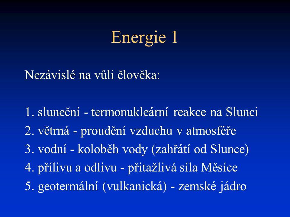 Energie 1 Nezávislé na vůli člověka: 1. sluneční - termonukleární reakce na Slunci 2. větrná - proudění vzduchu v atmosféře 3. vodní - koloběh vody (z