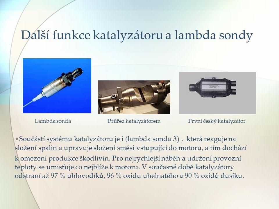 Další funkce katalyzátoru a lambda sondy Lambda sonda Průřez katalyzátorem První český katalyzátor Součástí systému katalyzátoru je i (lambda sonda λ)