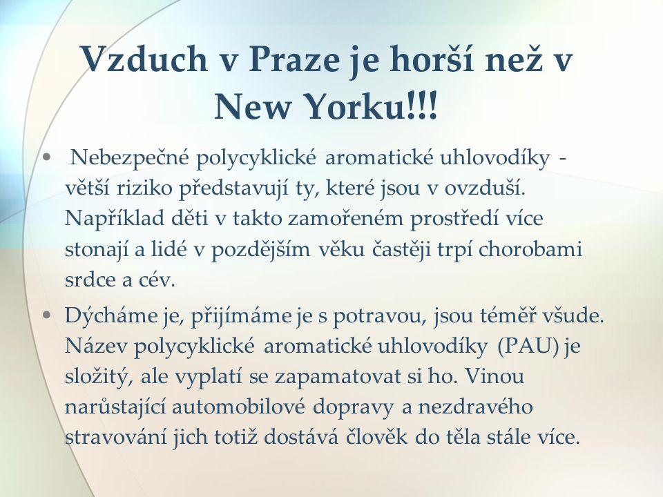Vzduch v Praze je horší než v New Yorku !!! Nebezpečné polycyklické aromatické uhlovodíky - větší riziko představují ty, které jsou v ovzduší. Napříkl