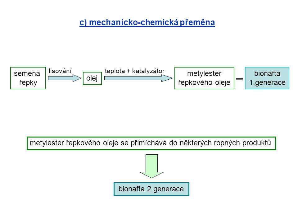 c) mechanicko-chemická přeměna semena řepky olej metylester řepkového oleje bionafta 1.generace lisováníteplota + katalyzátor metylester řepkového ole