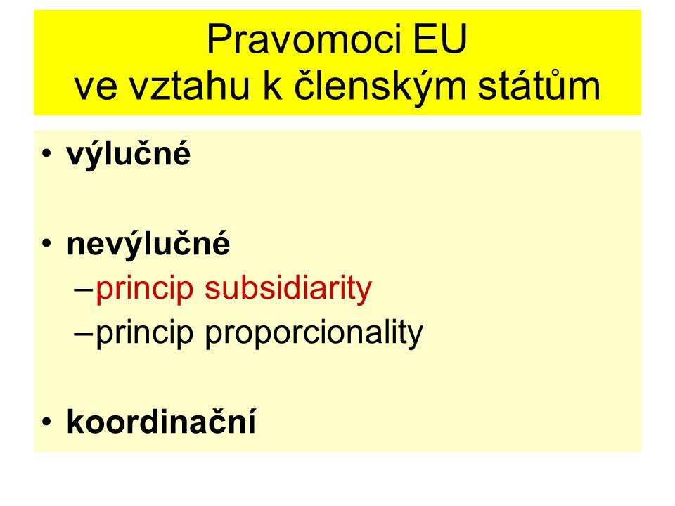 Pravomoci EU ve vztahu k členským státům výlučné nevýlučné –princip subsidiarity –princip proporcionality koordinační