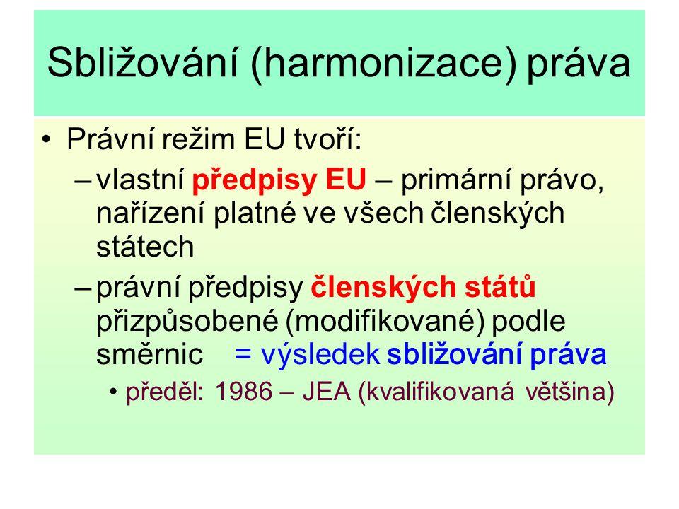 Sbližování (harmonizace) práva Právní režim EU tvoří: –vlastní předpisy EU – primární právo, nařízení platné ve všech členských státech –právní předpi