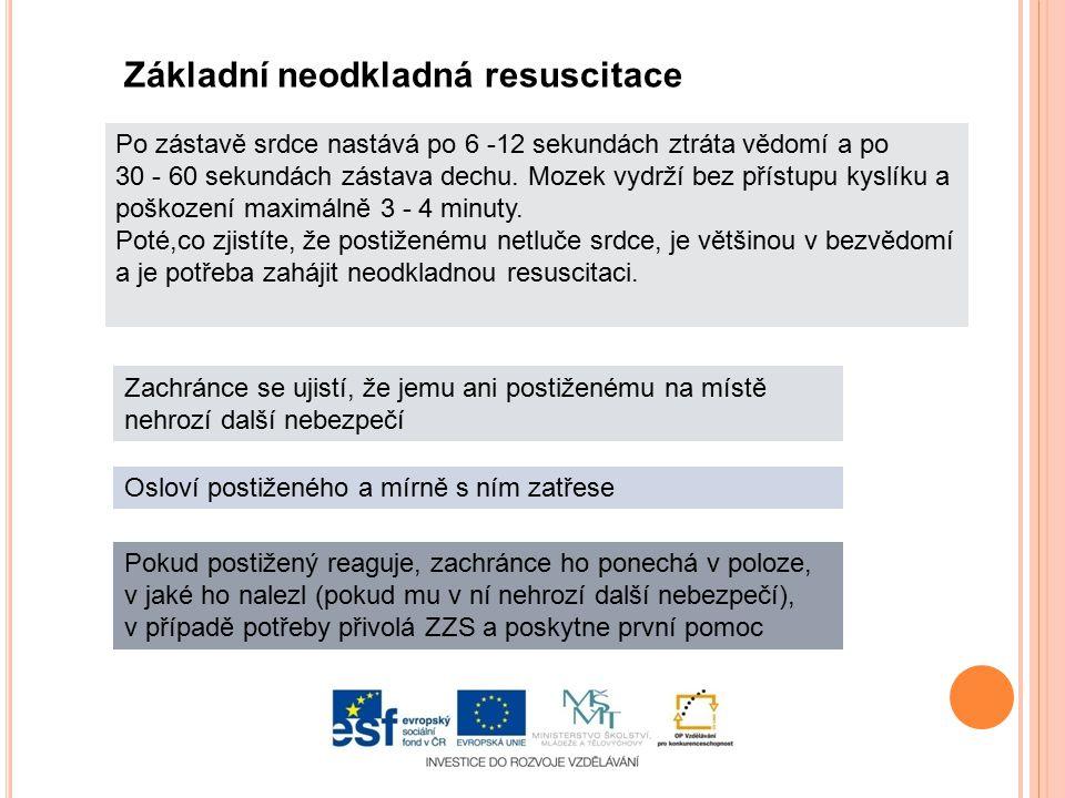 Základní neodkladná resuscitace Zachránce se ujistí, že jemu ani postiženému na místě nehrozí další nebezpečí Osloví postiženého a mírně s ním zatřese