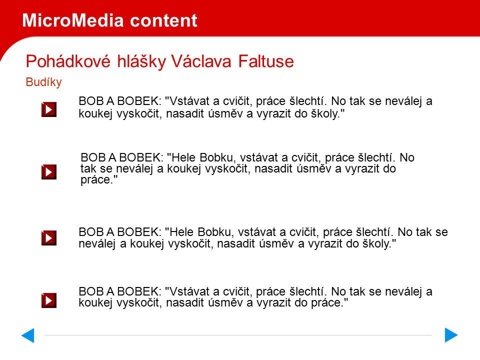 Pohádkové hlášky Václava Faltuse MicroMedia content BOB A BOBEK: Vstávat a cvičit, práce šlechtí.