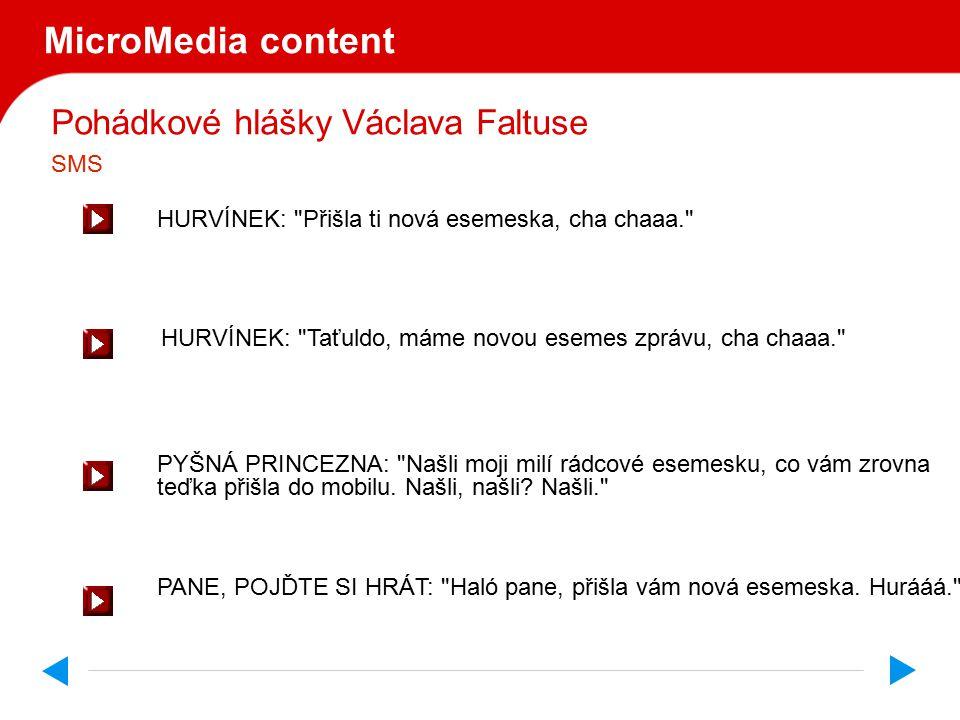 Pohádkové hlášky Václava Faltuse MicroMedia content HURVÍNEK: Přišla ti nová esemeska, cha chaaa. PYŠNÁ PRINCEZNA: Našli moji milí rádcové esemesku, co vám zrovna teďka přišla do mobilu.