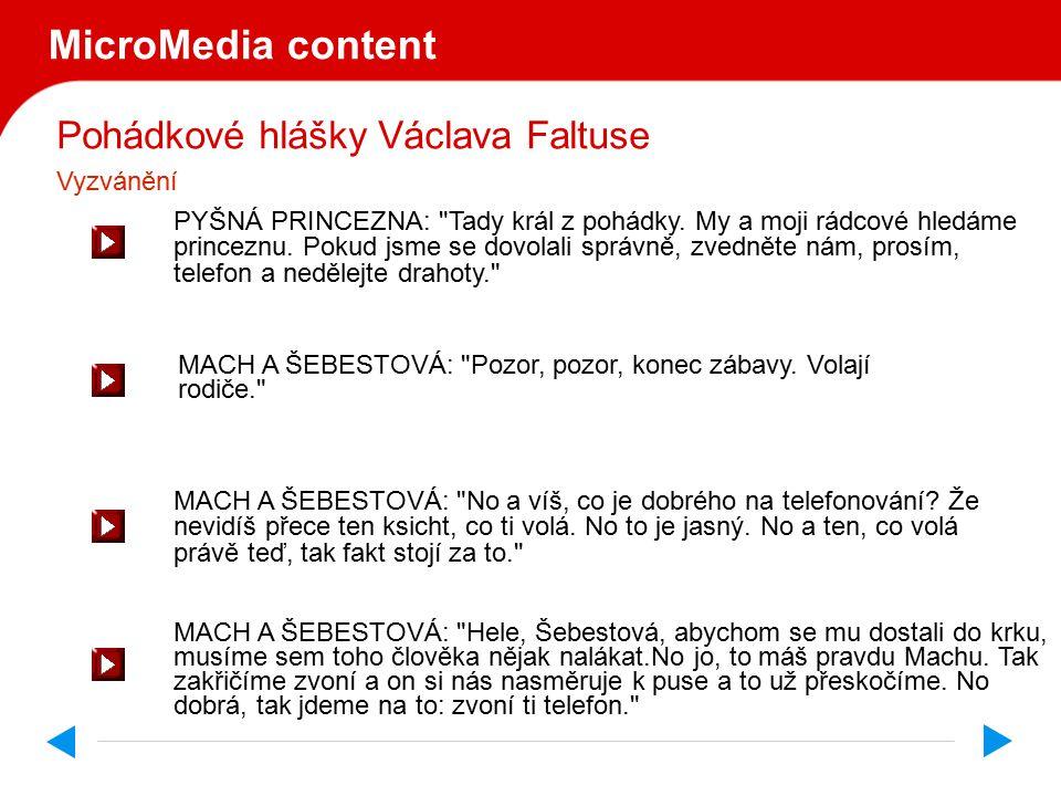 Pohádkové hlášky Václava Faltuse MicroMedia content PYŠNÁ PRINCEZNA: Tady král z pohádky.